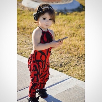 jumpsuit baby red red and black headband bow bows bodysuit bow headband cute love love print loafers diva fashion divas kids fashion children headband fashion style