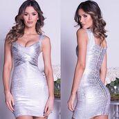 dress,holt miami,holt dress,silver dress,silver foil dress,bandage dress,bandage dress in silver,party dress,holt