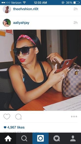 top black top black black sunglasses headband red lipstick red hair band mac lipstick aaliyah jay aaliyahjay sunglasses