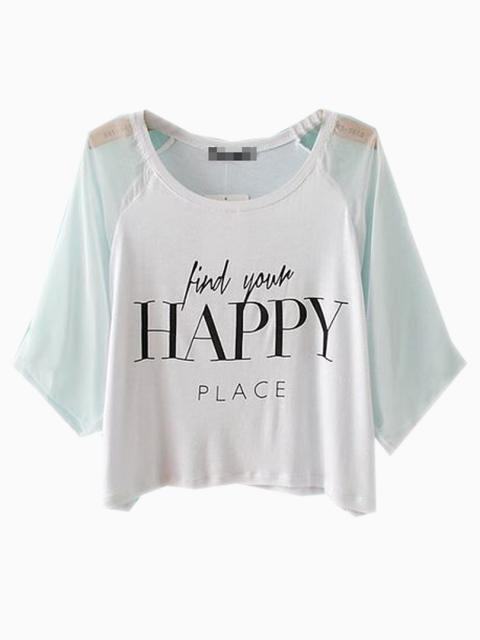 White HAPPY Print Crop Top With Mesh Sleeves | Choies