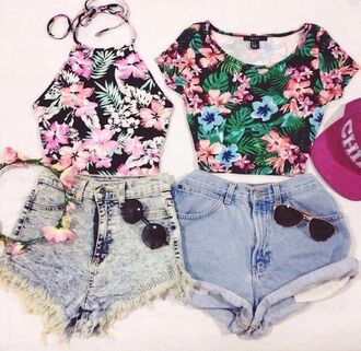 blouse tropical shirt haultershirt cute shirt top crop tops black floral short tank top floral tank top summer top high waisted shorts shorts sunglasses hat hair accessory t-shirt halter top tropical short shorts outfit summer outfits summer summer shorts shirt