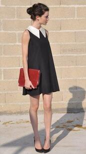 collar,collared dress,loose,sleeveless,white collar,preppy,dress,black dress,little black dress,peter pan collar