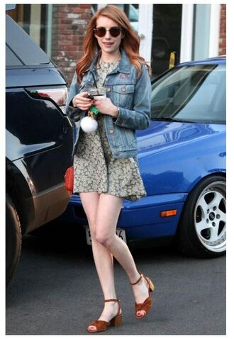 sandals mini dress emma roberts spring outfits jacket denim jacket floral dress