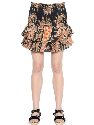skirt cotton paisley black orange