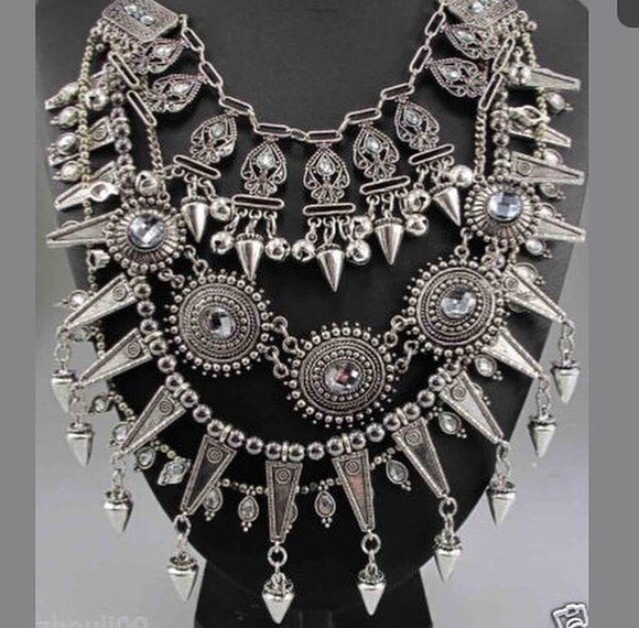 trendy silver jewels oversized necklace crystal multi chunky chic sketch jewelry style necklace