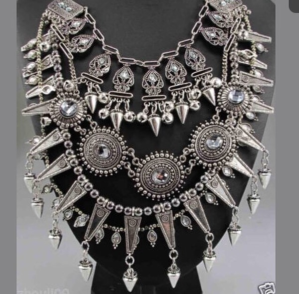 jewels jewelry silver oversized necklace crystal multi chunky trendy chic sketch jewelry style necklace