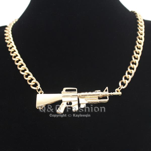 Celebrity Gold Machine GUN Style Statement Chunky BIB Collar Necklace HIP HOP | eBay