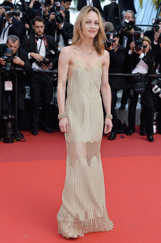 dress gown prom dress red carpet dress cannes vanessa paradis lace dress