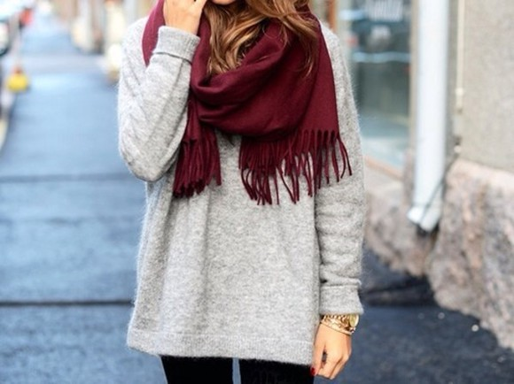 scarf fall outfits fashion winter/autumn winered fall scarves autumn colours sweater