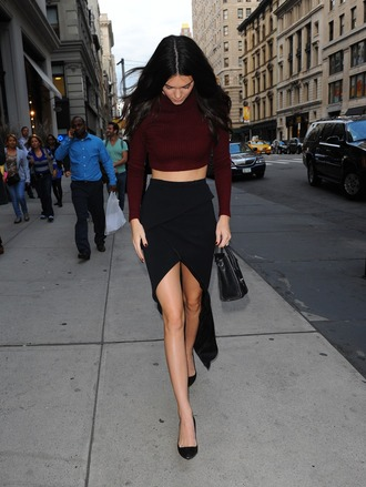 skirt black skirt classy maroon crop top long sleeves kendall jenner candid model black shoes top burgundy sweater crop tops cropped sweater