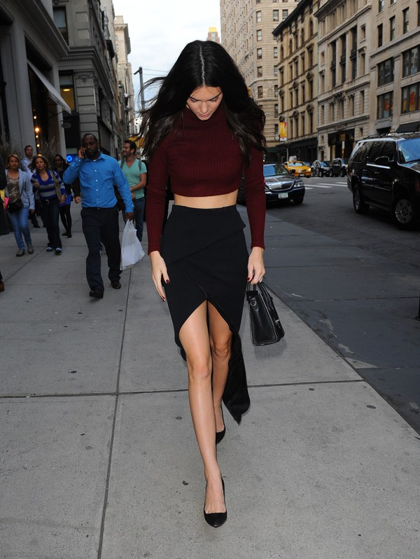 Skirt Black Skirt Classy Maroon Crop Top Long Sleeves