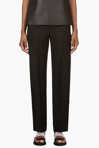 waist black pleated pants clothes women low