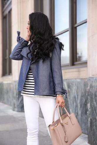 stylish petite blogger jacket coat shirt t-shirt jeans shoes bag jewels handbag striped top white pants spring outfits