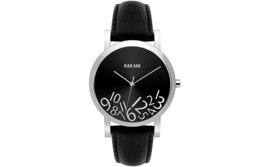 What Time? - Silver on Black w/ Black Leather (40mm)