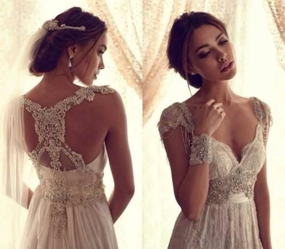 wedding dress beaded white dress laced back dress
