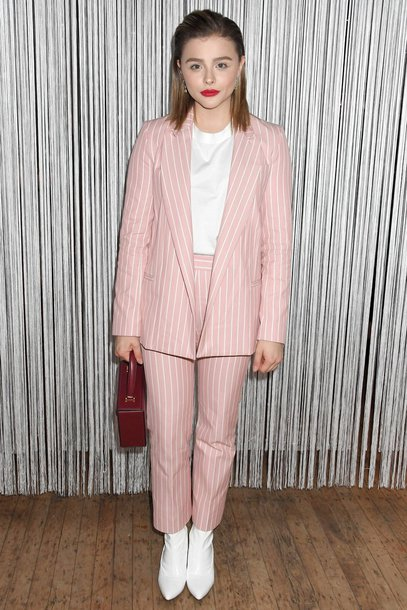 pants blazer suit chloe grace moretz ankle boots top fall outfits stripes striped pants bag