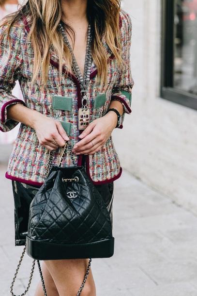 5390d615f68c bag backpack black backpack chanel gabrielle backpack chanel bag chanel  jacket tweed skirt multicolor Accessory