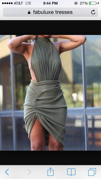 dress green dress beautiful green dress bodycon dress bodycon halter dress