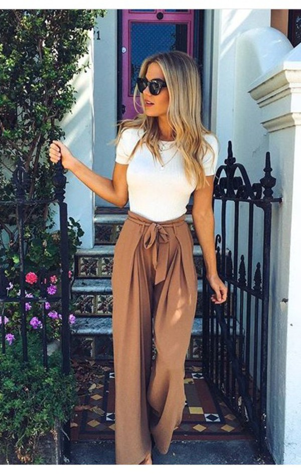 pants pants beige wide leg summer wide-leg pants tan high waisted flowy jeans trouser brown palazzo pants outfit high waisted pants t-shirt flowy brown pants nude classy top white bow pink chic summer outfits Bow pants camel cute