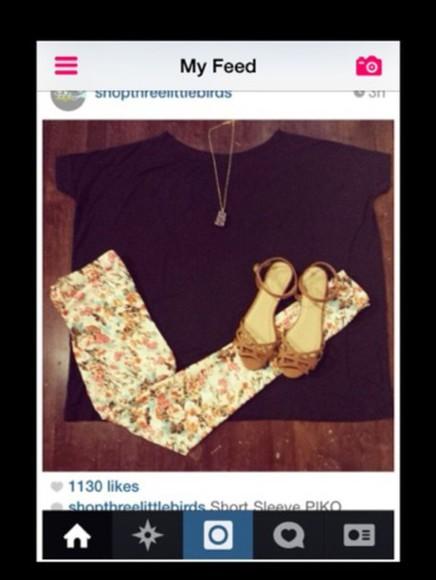 top large jeans noir tee-shirt fleur sandale cuir daim marron coya rose vert