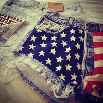 shorts high waisted shorts short usa usa american flag stars