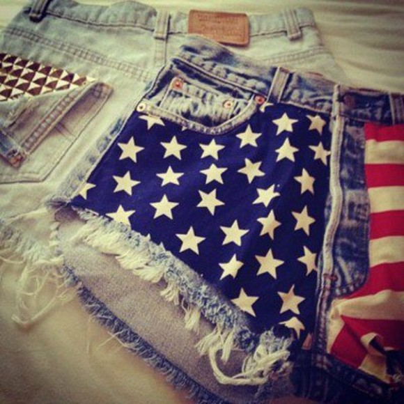 short usa american flag shorts High waisted shorts american flag, blue ,red,white,stars