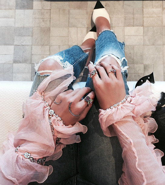 jewels tumblr silver jewelry silver ring knuckle ring denim jeans blue jeans ripped jeans chanel mules bracelets silver bracelet