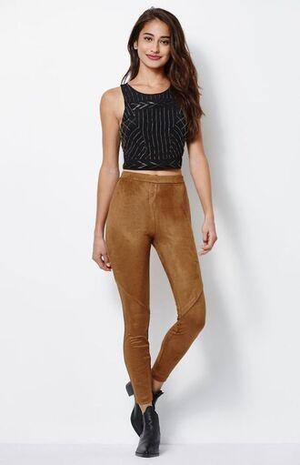 pants brown pants suede pants top striped top crop tops black crop top boots ankle boots black boots