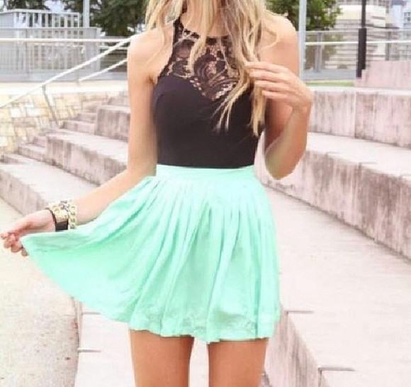 black dress skirt green shirt short