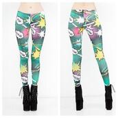 pants,boom,bang,leggings,graphic print,pow,cartoon,comics,comic strip,makeup table,vanity row,dress to kill