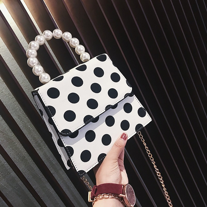 White Polka Dots Faux Leather Handbags with Pearl Handle