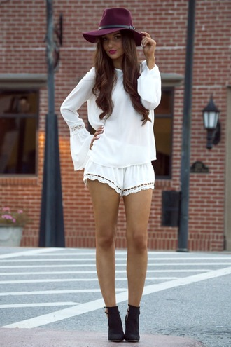 shorts bohemian boho coachella festival boots style fashion crochet crochet shorts fedora cute girly indie india love indie boho summer outfits spring outfits instagram tumblr outfit lookbook girl top hat shoes