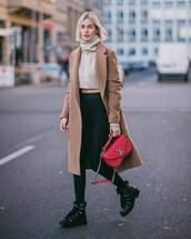 sweater,beige sweater,cropped sweater,black boots,ankle boots,black leggings,bag,louis vuitton bag,long coat