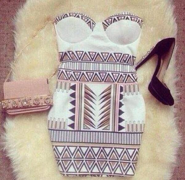 dress tribal pattern bodycon dress pink shoes
