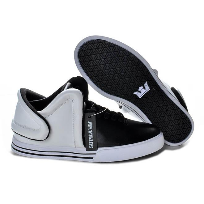 Black and White Supra Falcon Men Size Skate Shoes - Mid Tops