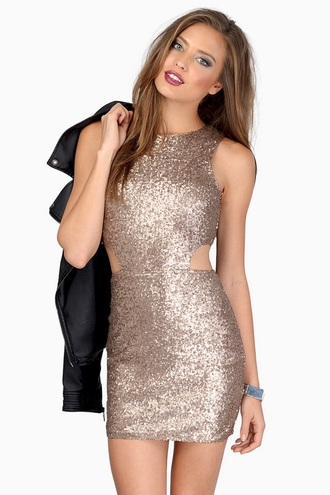 dress rose gold sequin dress gold sequins bodycon dress holiday dress sparkly dress
