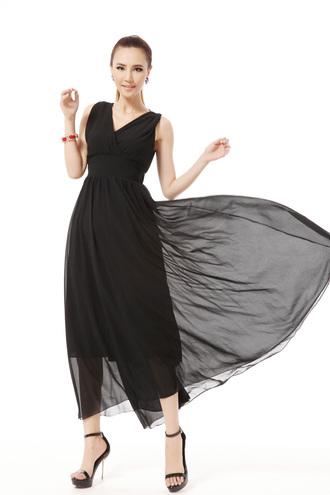 dress summer dress maxi dress fashion dress v neck dress sleeveless big hem dress