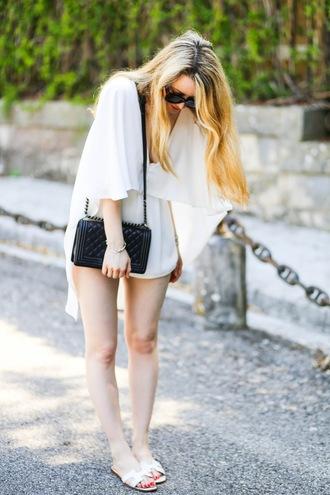 caroline louis pardonmyobsession blogger romper shoes bag minimalist dress white dress cape black bag chanel mini dress flats black shoulder bag