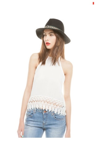 shirt tank top white lace low back