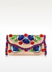 bag,clutch,tory burch,canvas clutch,floral clutch,embroidered clutch,forzieri
