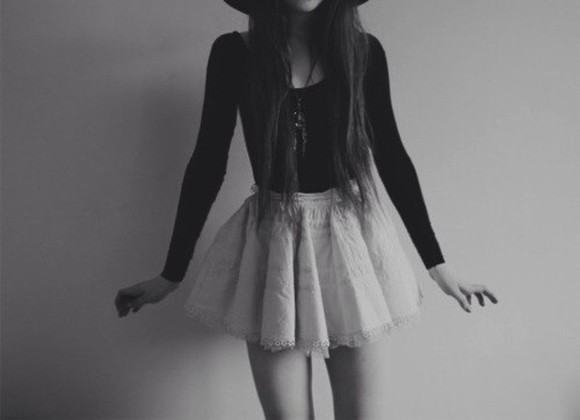 white skirt skirt shirt pretty flowy skirt high waited skirt black shirt soft grunge sweet lace