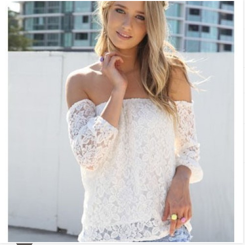 New fashion summer women lace chiffon shirt long sleeve strapless blouse off the shoulder  blouses & shirts blusa gipsy 4145-in Blouses & Shirts from Apparel & Accessories on Aliexpress.com