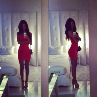 dress bodycon ashley sky orange red nectarine tangerine mini mini dress tanned brunette nude heels vest dress tight bandage