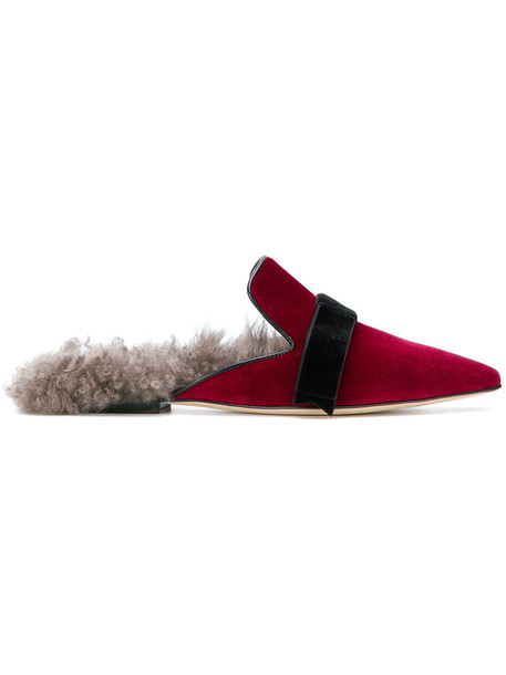 women slippers leather velvet red shoes