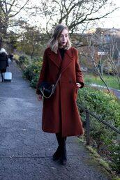 coat,tumblr,winter outfits,winter coat,winter look,rust,brown coat,bag,black bag,crossbody bag,boots,black boots