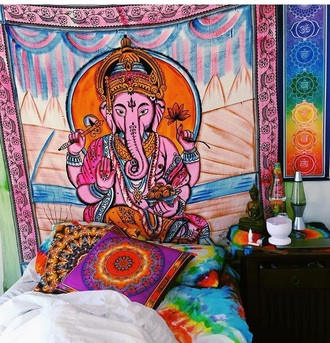 home accessory colorful indian mandala pink oriental print tapestry elephant