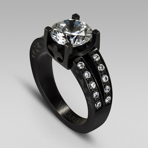 Charming and Vintage Design High Quality Cubic Zirconia Titanium Steel Black Wedding Ring,Engagement Ring for Women