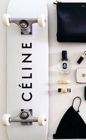 skateboard,accessories,skater,celine,home accessory,black,white,tumblr,make-up