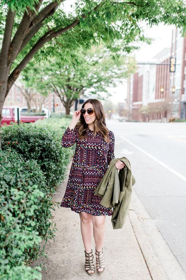 bohostylefile blogger dress jacket sunglasses shoes spring outfits green jacket sandals