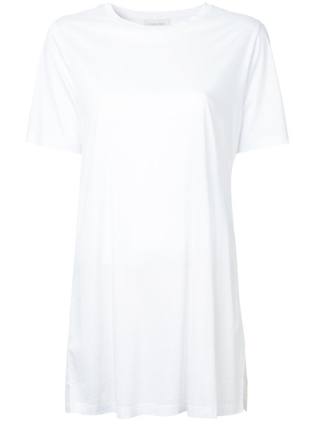 Ck Calvin Klein t-shirt shirt t-shirt women slit white cotton top
